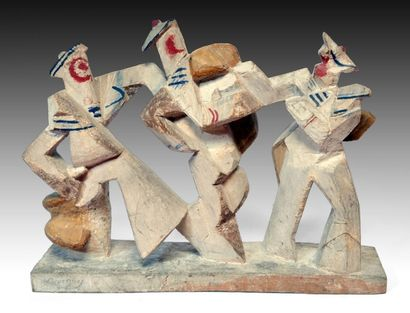 Léon BORGEY (1888-1959) Trois marins. Bois...