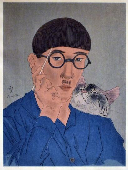 Tsuguharu FOUJITA (1886-1968) Autoportrait...