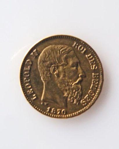 PIECE de 20 francs belges or, 1870. Poids...