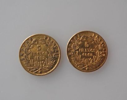 DEUX PIECES de 5 francs or 1865 et 1868....