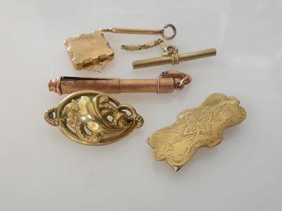 *LOT de DEBRIS d'or: fermoirs en or jaune,...
