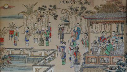 Ecole chinoise. Femmes au jardin. Aquarelle,...