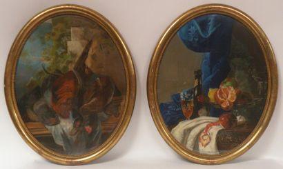 Ecole française du XIXe siècle. Deux pastels...