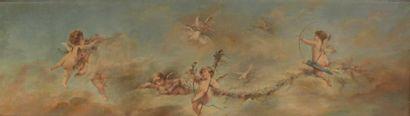 Ecole française du XIXe siècle. Amours joueurs dans les nuées. Huile sur toile....