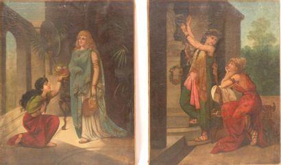 Ecole française du XIXe siècle. Deux huiles sur toiles formant pendant à sujet antiquisant,...
