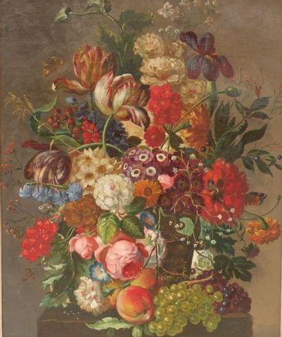 Ecole fin XIXe début XXe. Bouquet de fleurs...