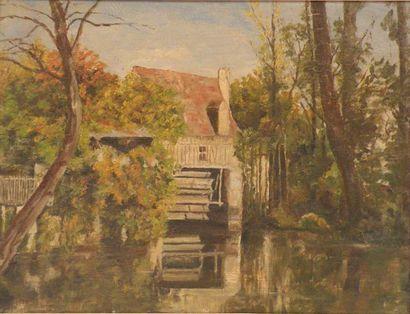Ch. LABELLE (attribué à). Vieux moulin à...