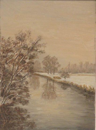 Ch. LABELLE. Paysage d'hiver, Saint Cyr de...