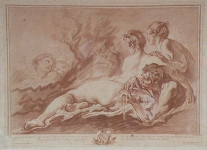 BOUCHER (d'après). Nymphe et satyre. Gravure...