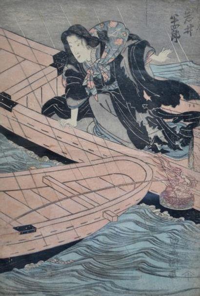Estampe japonaise, femme aux barques. Japon...