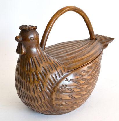 Original PANIER en forme de poule en bois...