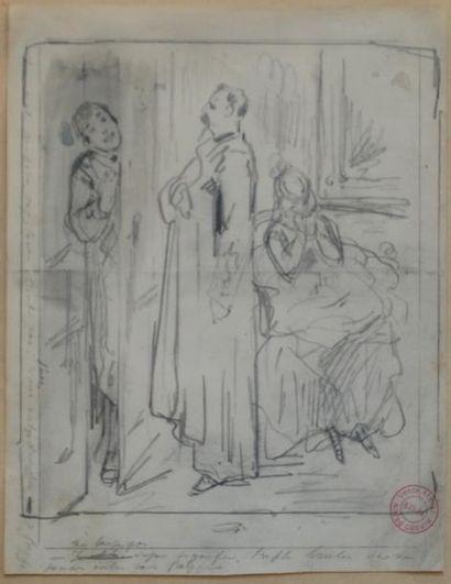 Alfred GRÉVIN (1827-1892) Chez l'avocat. Mine de plomb portant le cahcet de la vente...