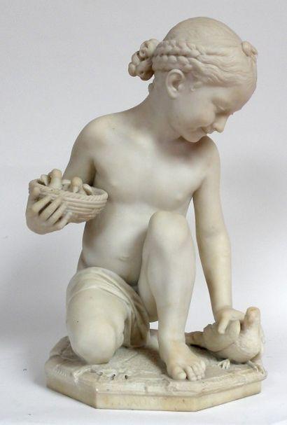Luigi PAMPALONI (1791-1847) L'innocence ou fillette aux tourterelles. Sculpture...