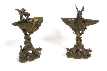 Paire de COUPES vide-poches en bronze en...