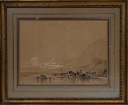 Paul LANGLOIS (1858-1906) plage à marée basse....