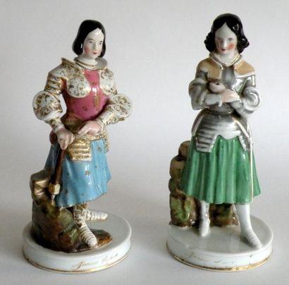 Paire de SUJETS en porcelaine émaillée polychrome...