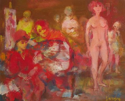Daniel JAUGEY (1929) Nu dans l'atelier. Huile...