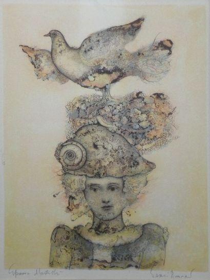 Sakti BURMAN (1935) Enfant et oiseau. Lithographie,...