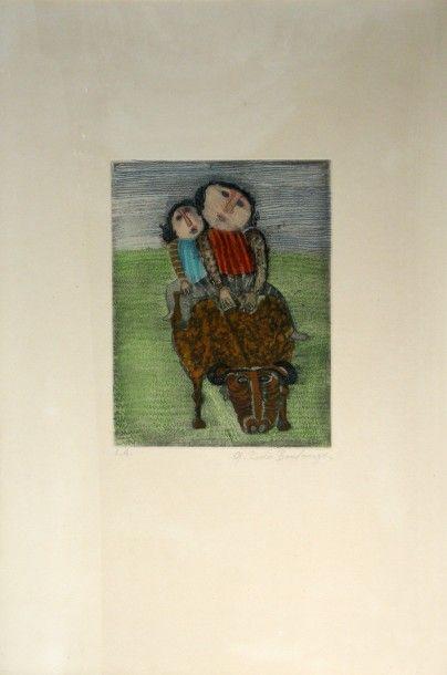 Graciela RODO BOULANGER (1935) Enfants sur une vache. Lithographie. Epreuve d'artiste...