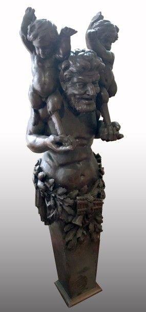 Importante SUPPORT décoratif en chêne sculpté,...
