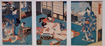Utagawa Kunisada (1786-1865): Triptyque le...