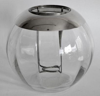 SEAU A CHAMPAGNE en cristal et métal argenté...