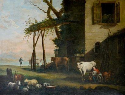 Ecole hollandaise XVIIIe Paysanne trayant...