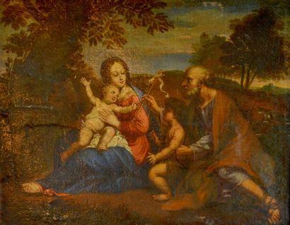 Ecole fin XVIIIe début XIXe dans le goût du XVIIe. La Sainte Famille. Huile sur...