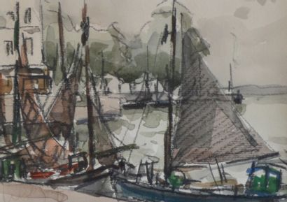 Fernand HERBO (1905-1995) Voiliers au port....