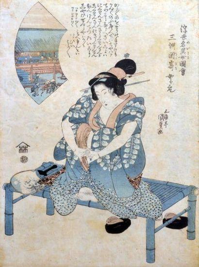 KUNISADA. Femme assise. estampe, signée du...