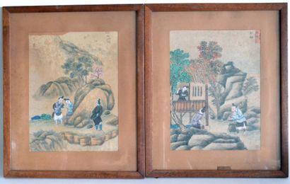 Ecole chinoise XIXe. Personnages dans des...