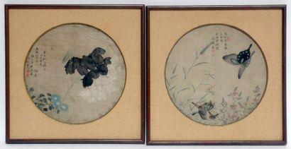 CHINE, XIXe. Deux encres polychromes sur...