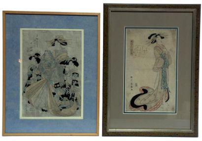 Trois oban tate-e dont une par Kikugawa Eizan...