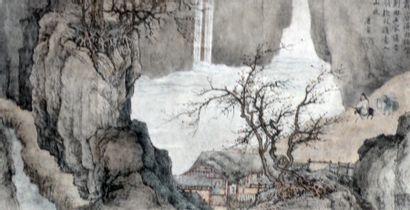 Reproduction d'une peinture sur papier, Laozi...