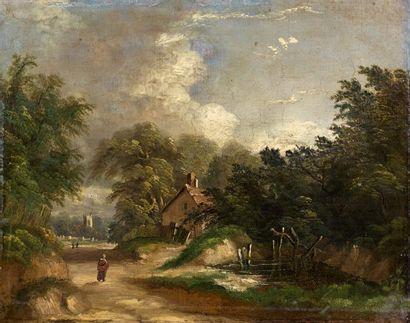 Ecole FRANCAISE vers 1860. Vue d'un village...