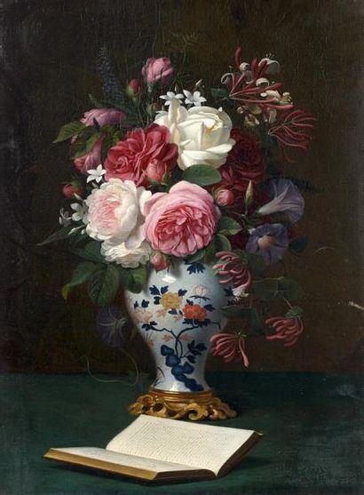 Ecole FRANCAISE vers 1860, entourage de DESGOFFES. Bouquet de roses dans un vase...