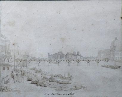 Ecole française du XIXe Vue du pont des Arts....