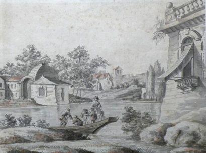 Ecole Française du XVIIIe Pêcheurs remontant...