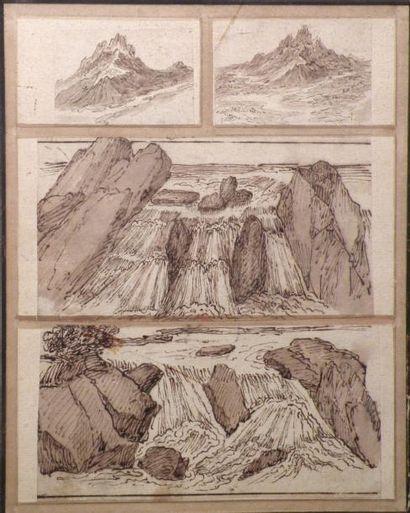 Ecole Française du XVIIIe Montage de quatre paysages de cascade. Plume et encre...
