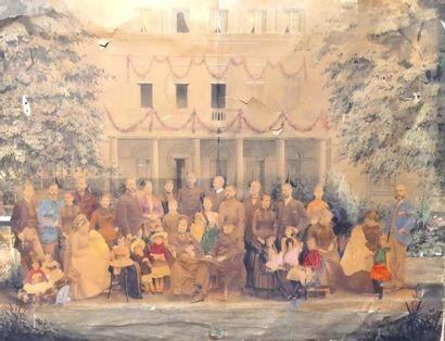 Photo de groupe peinte en couleurs, vers...