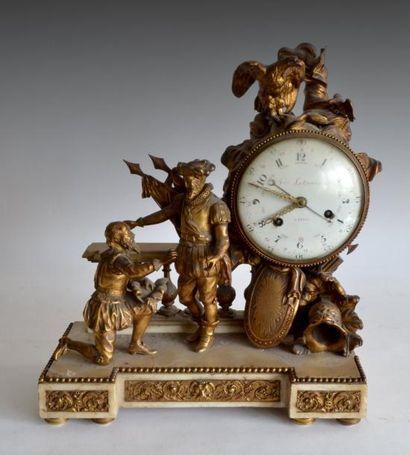 PENDULE à la Henri IV, en bronze doré, le...