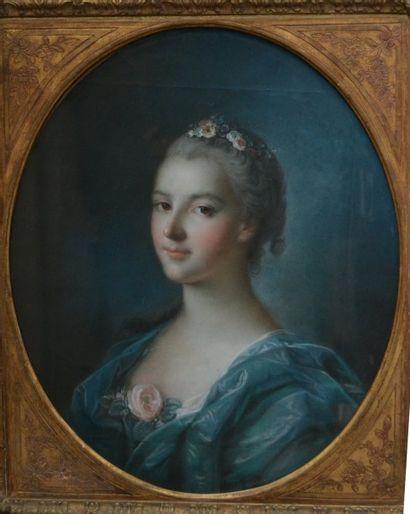 Entourage de François BOUCHER (1703-1770) Portrait de femme Pastel à vue ovale sur...