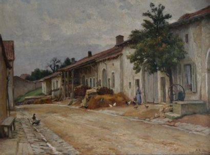 Alfred RENAUDIN (1866-1944) Rue à Saulxures-lès-vannes,...