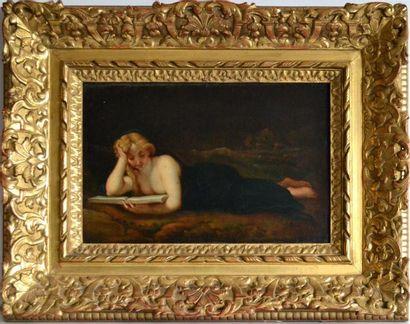 Ecole française XIXe. Femme allongée lisant....