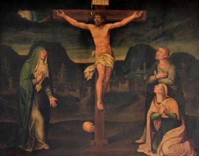 Ecole Espagnole vers 1600 Christ en Croix avec la Vierge et Saint Jean. Panneau...