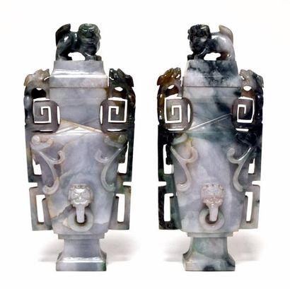 CHINE - Début XXe siècle Paire de vases en...