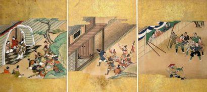 JAPON - XIXe siècle Trois encres polychromes...
