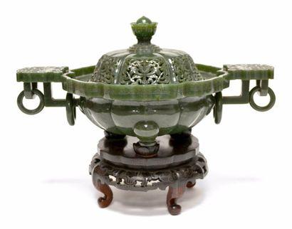 CHINE - Vers 1900 Brûle-parfum tripode et...
