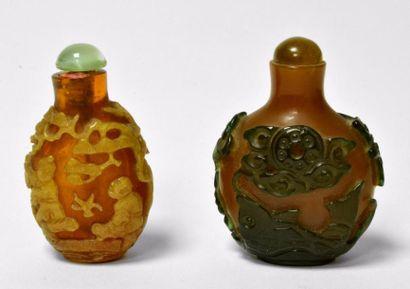 CHINE - XIXe siècle Ensemble comprenant deux...