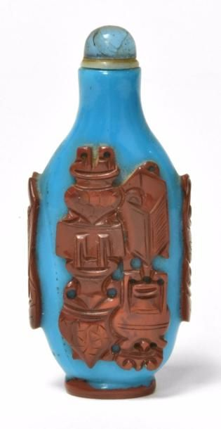 CHINE - XIXe siècle Flacon tabatière en verre...